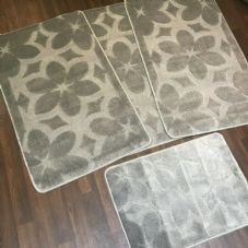 ROMANY GYPSY WASHABLES SETS OF TOURER SIZE 67X110CM MATS-RUGS NEW FLOWER SILVER